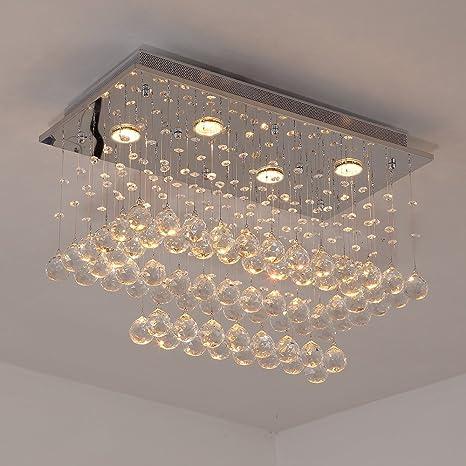Glighone LED Kristall Deckenleuchte Glas Kronleuchter Modern