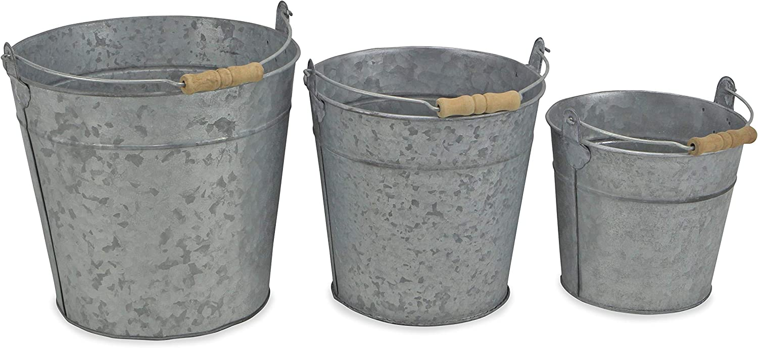 Cheungs Galvanized 3 Piece Wood Bucket Set For Sale Online Ebay
