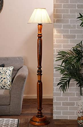 Beverly studio 12 inches White Cross Pleated Shade Wooden Floor lamp Standing Lights at amazon