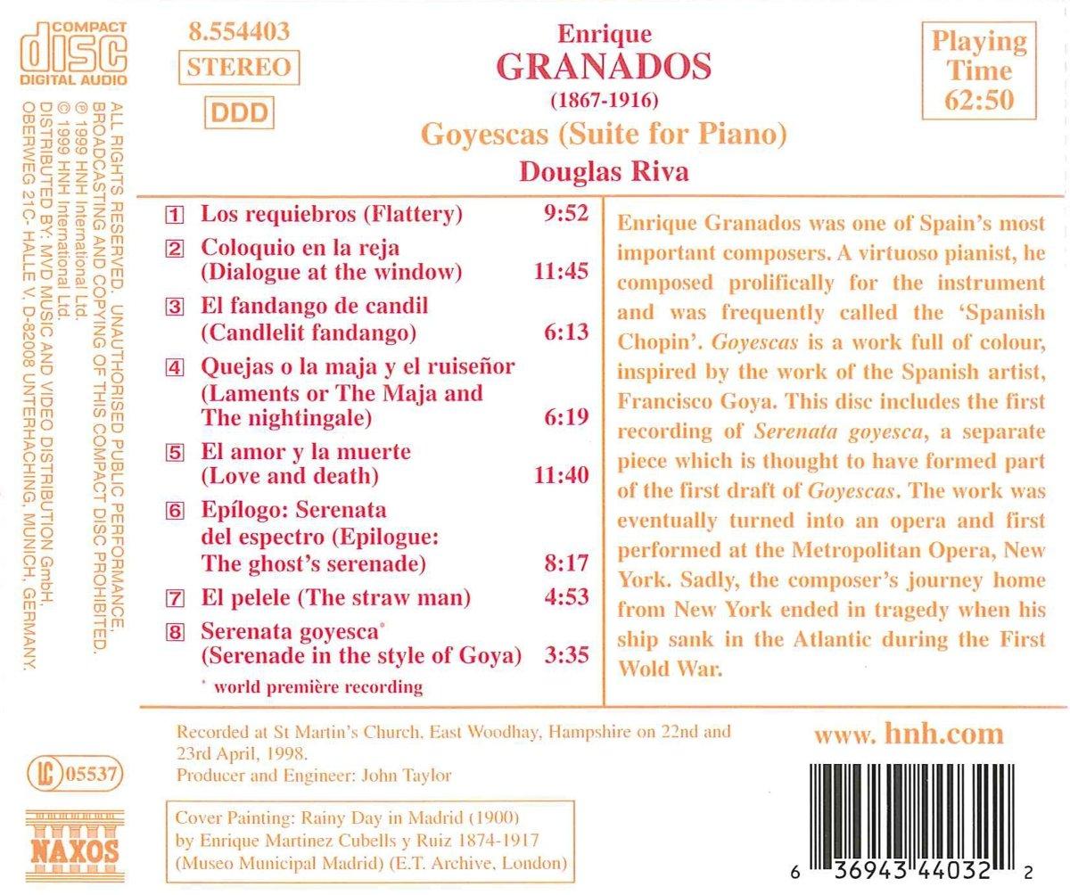 Piano Music V.2 -Goyescas : Douglas Riva, Enrique Granados: Amazon.es: Música