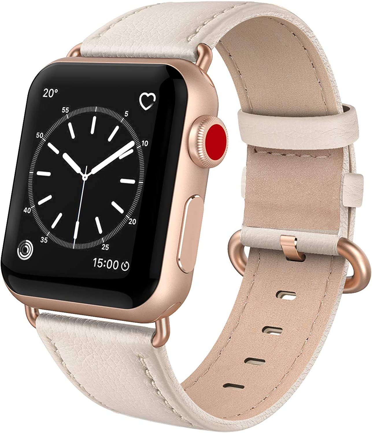 SWEES Leather Band Compatible for iWatch 38mm 40mm, Genuine Leather Replacement Strap Rose Gold Buckle Compatible iWatch Series 6 5 4 3 2 1, Sports & Edition Women
