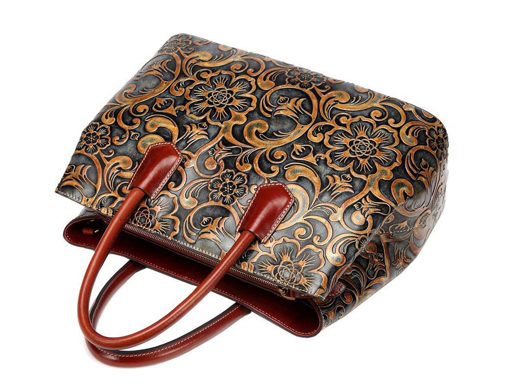 Jair Retro Floral Embossed Genuine Leather Crossbody Tote Bags Handbags for Women (Bronze New) by Jair (Image #5)