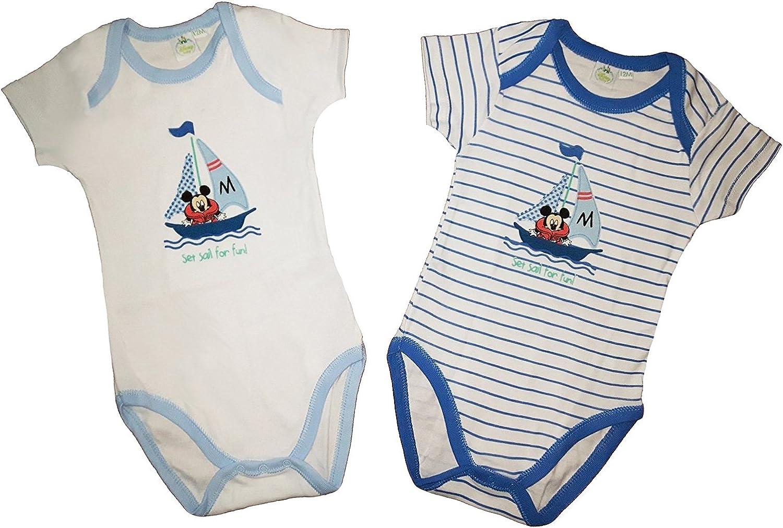 Disney 2 Body Neonato//a Mezza Manica Americana Cotone Minnie-Mickey Art WD101055