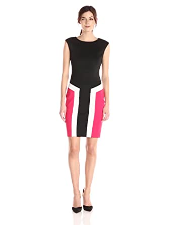 Calvin Klein Women's Cap Sleeve Color Block Sheath Dress, Black/Cream/Lip, 12