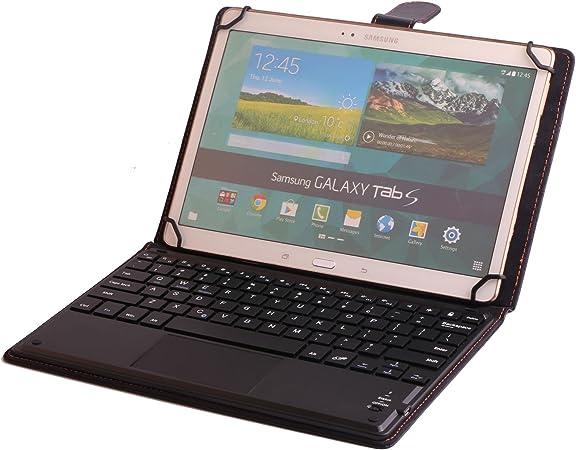 Funda universal de piel para teclado para tablet Samsung Galaxy Tab S 10.5, funda de piel sintética con teclado Bluetooth (TOUCHPAD MOUSE) para ...