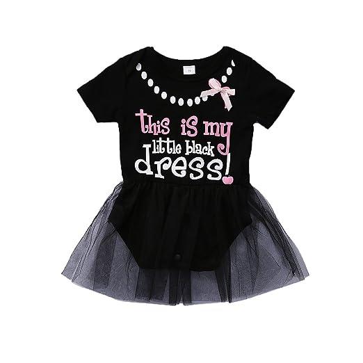 0e4f823564b0 Amazon.com  Baby Girls Lace Tutu My Little Black Dress Romper Dress ...