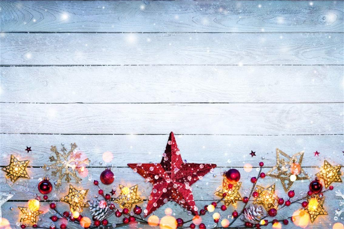 CSFOTO 8 x 6 インチ 背景 クリスマスデコレーション 木製ボード 写真 背景 赤い星 雪の結晶 雪 伝統 休日 祝日 子供 写真 スタジオ小道具 ポリエステル 壁紙   B07GBXL9MX