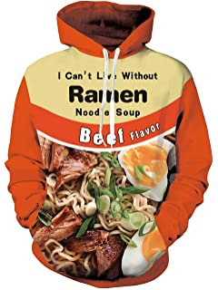 Keasmto 3D Ramen Chicken Noodle Soup Hoodie Beef Sweatshirt for Men Women Cotton Cute