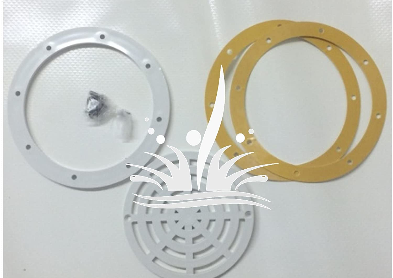 Kit con borde de sellado para desagüe de fondo de piscinas, fabricado en plástico ABS de color blanco, con tornillos y rejilla