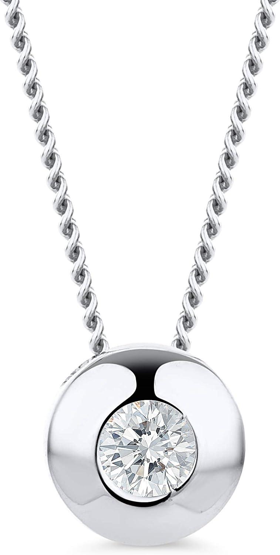 Orovi - Cadena de diamante para mujer, collar con colgante redondo solitario de 18 quilates (750) de oro y diamante brillantes de 0,08 ct, 45 cm de largo, hecha a mano en Italia