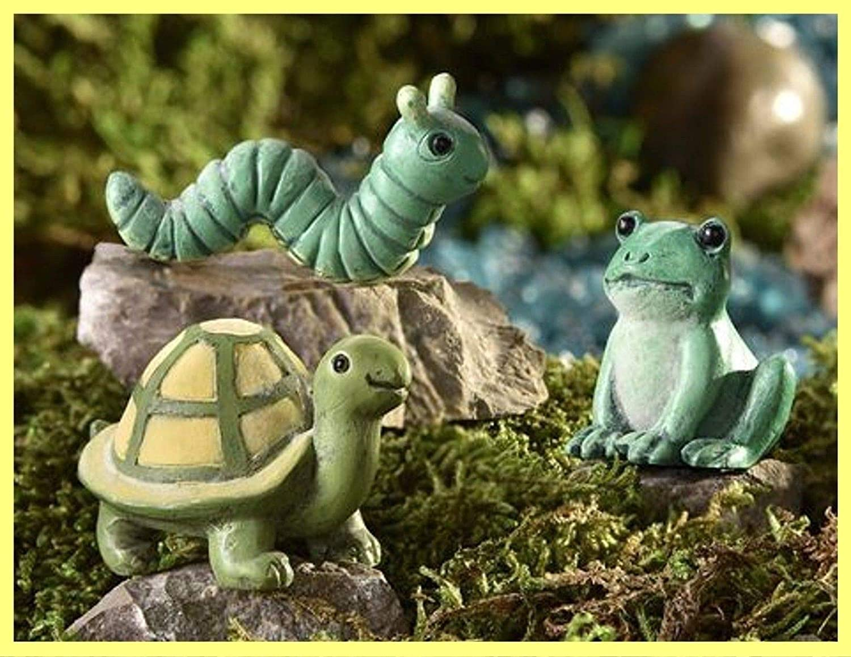 Miniature Dollhouse FAIRY GARDEN Caterpillar Tortoise Frog  GLOW IN DARK  360