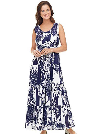Carol Wright Gifts Cotton Maxi Dress Navy Size Small at