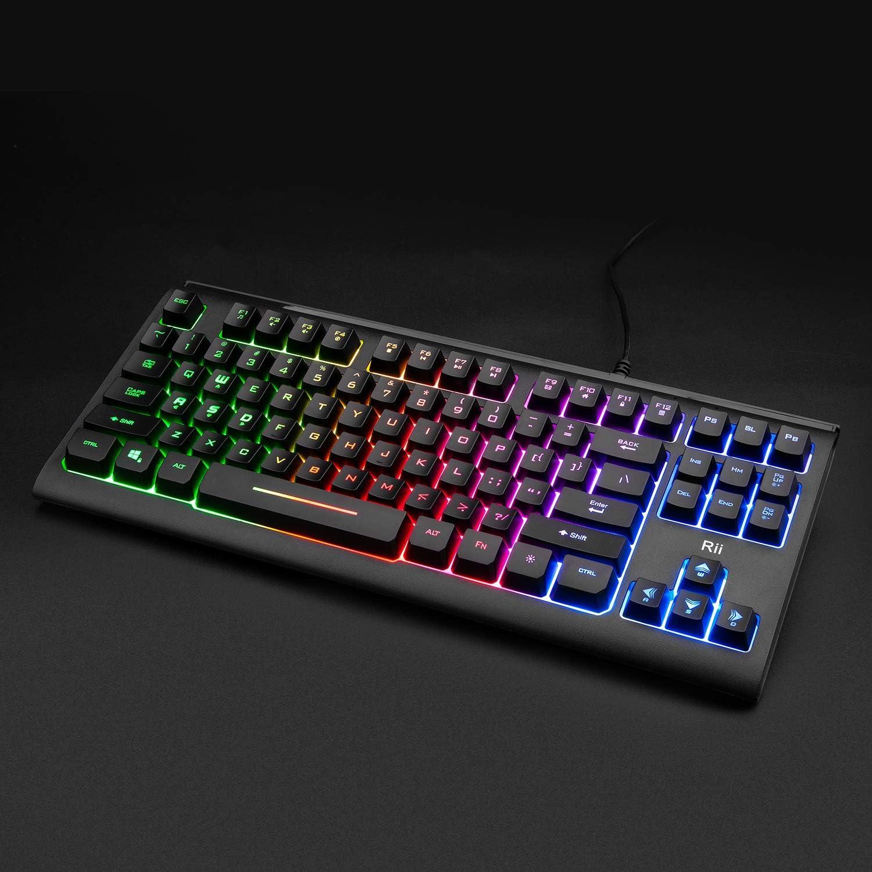 Rii Primer RGB Teclado compacto para juegos RK104, teclado retroiluminado, pequeño 87 teclas, teclado de computadora para Windows PC computadora ...