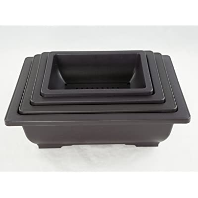 "4 Mix 6.25""-10"" Rectangular Plastic Bonsai / Succulents Pot - Dark Brown: Garden & Outdoor"