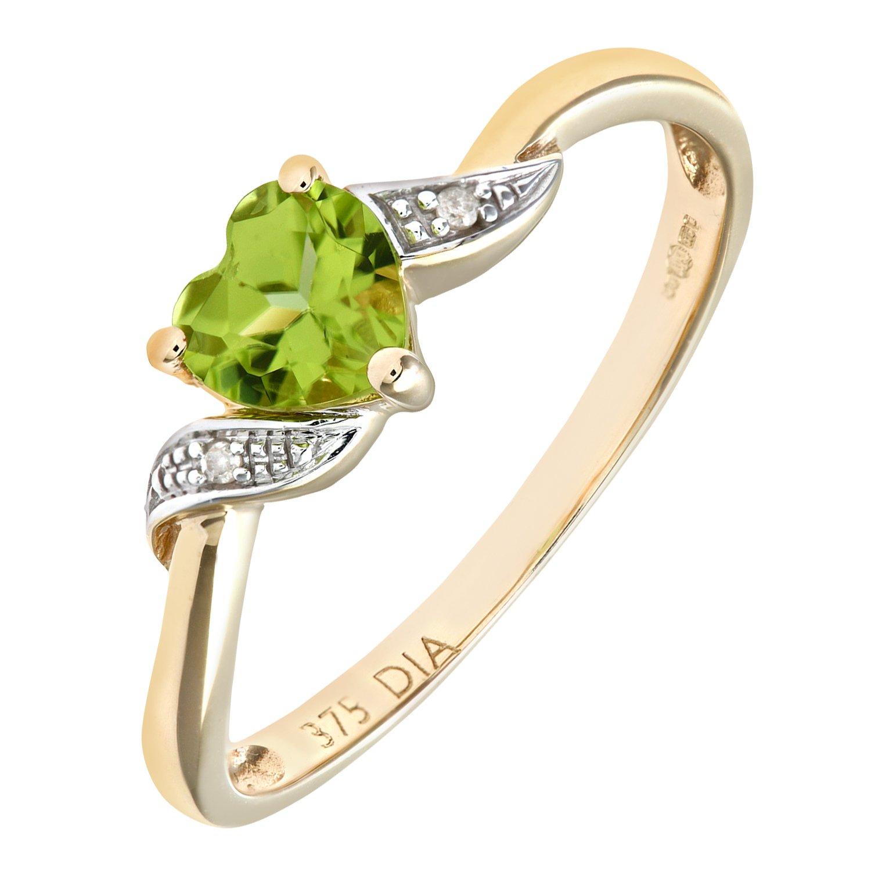 Naava 9ct Yellow Gold Peridot And Diamond Heart Ring mXTrhl97