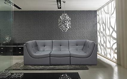 Amazon.com: Divani Casa 207 Modern Grey Leather Sectional Sofa by ...