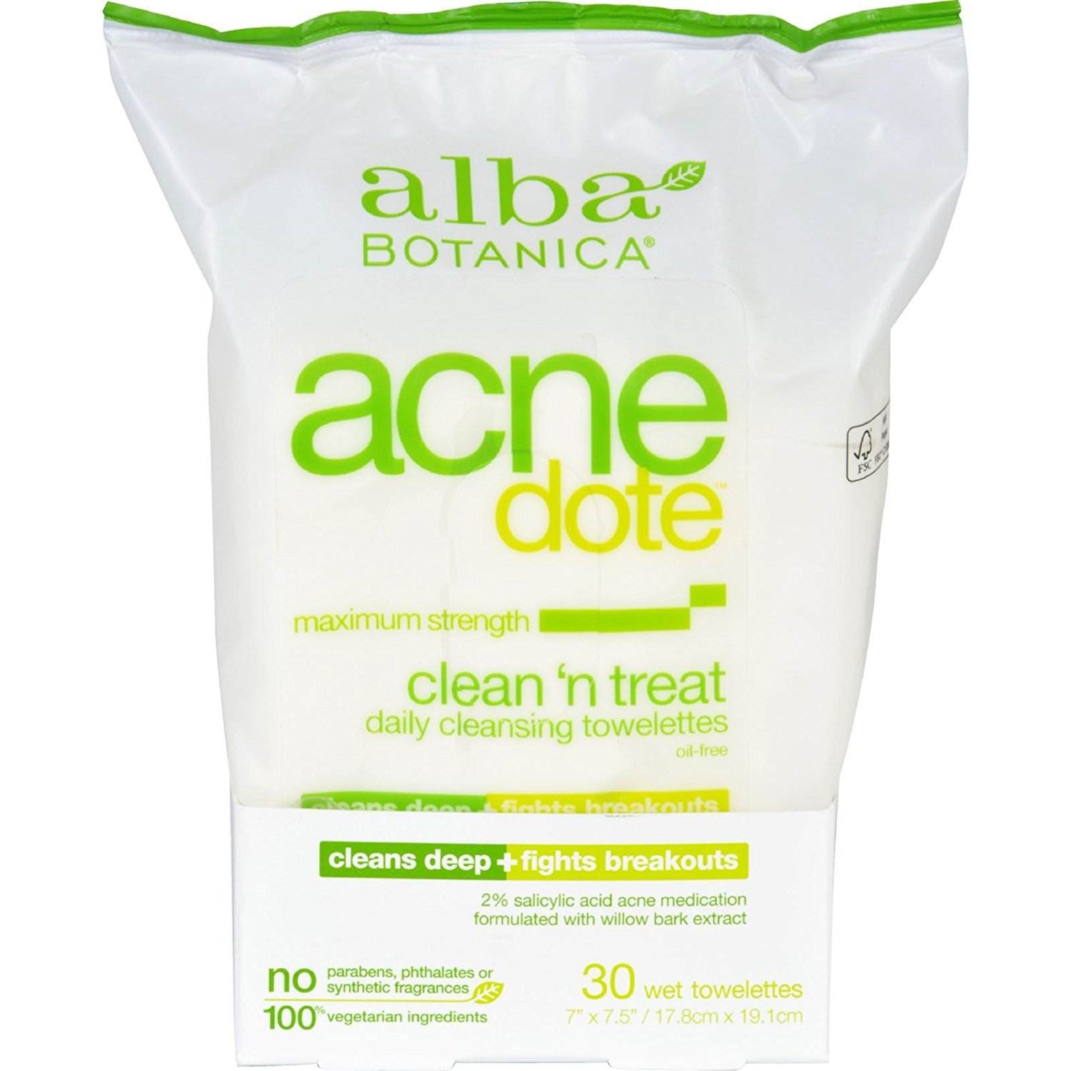 Pack of 1 x Alba Botanica Acnedote Clean Treat Towel - 30 Pack by Alba Botanica