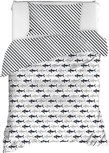 OZINCI 100% Cotton Sharks Bedding, Sharks Themed Single/Twin Size Quilt/Duvet Cover Set, Reversible, Nayv Blue (2 Pcs)