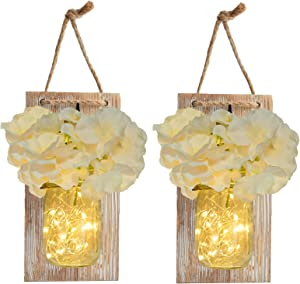Mason Jar Sconce Rustic Home Wall Decor with LED Fairy Lights - Handcrafted Hanging Mason Jar Sconces 2 Pack