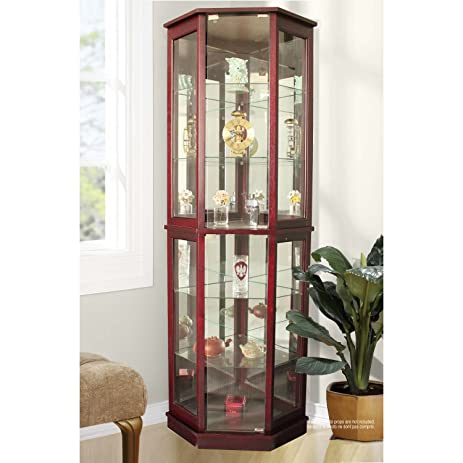 Amazon.com: Jenlea Lighted Standing Corner Curio Cabinet and ...
