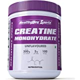 HealthyHey Sports Creatine Monohydrate 300G - 100 Servings (Unflavoured, 300g)