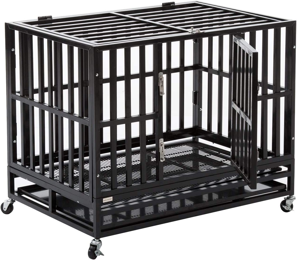Walcut Heavy Duty Square Tube Large Dog Cage Crate Kennel Pet Playpen with Wheels and Tray