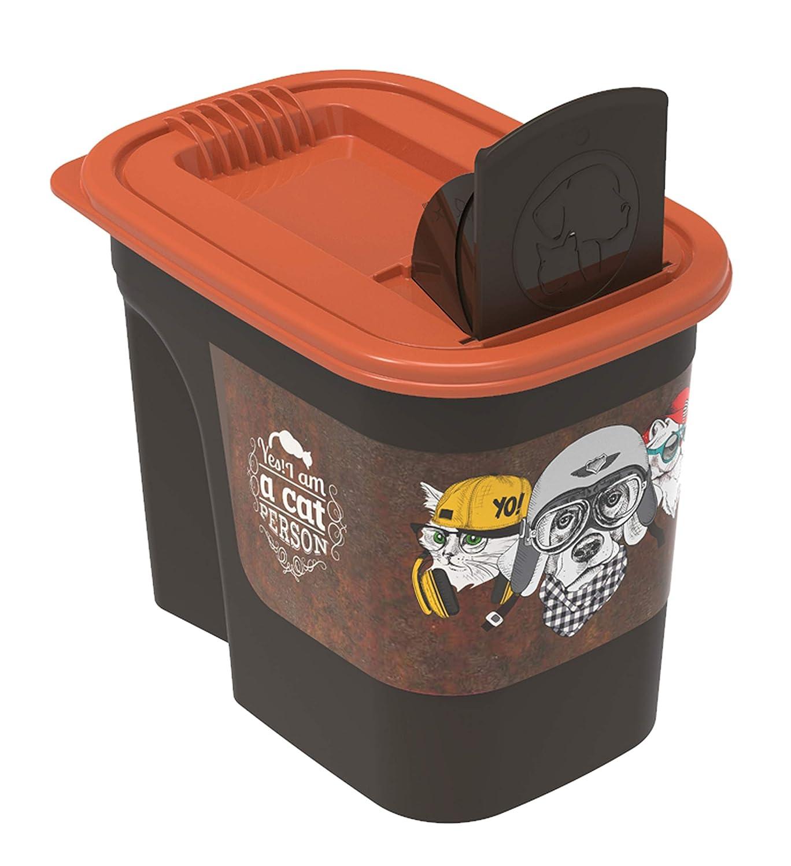 Rotho 4002310531 Aufbewahrungsbox fü r Tierfutter aus Kunststoff (PP) - Volumen 2, 2 Liter, S, braun/orange Rotho Kunststoff AG