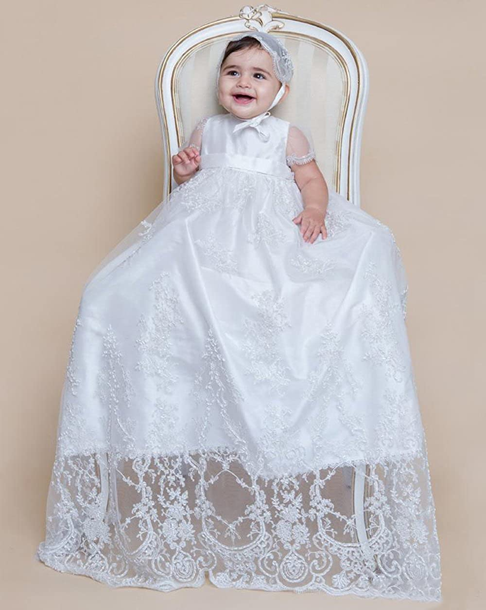 kelaixiang White Long Lace Christening Gown Baby Girls Party Dress