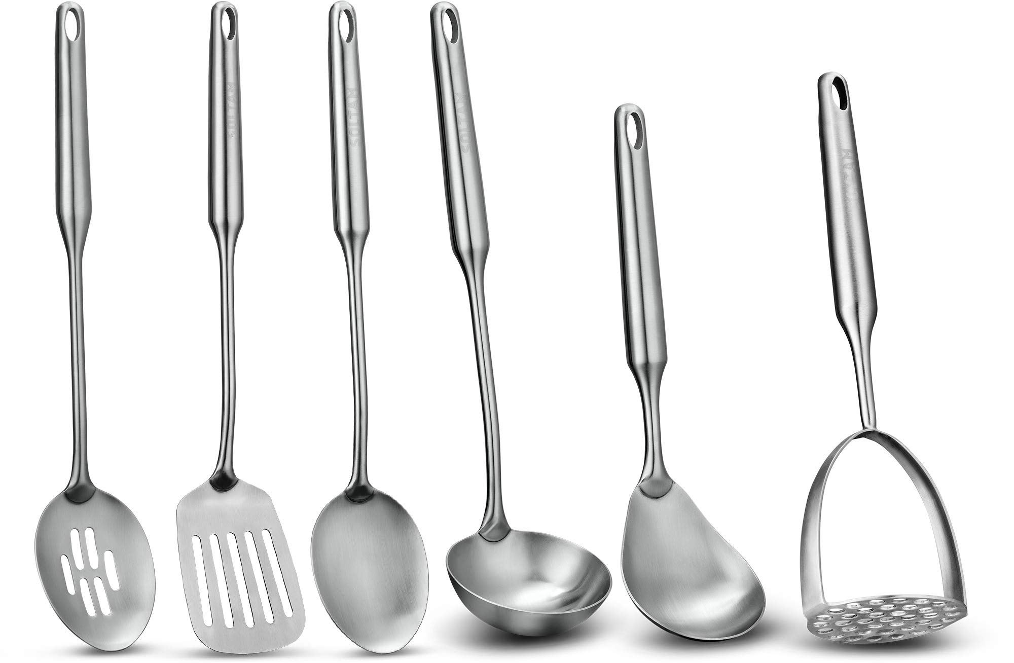 6 Piece Stainless Steel Serving Cooking Kitchen Utensil Set - Will Last Your Kitchen a Lifetime, Guaranteed - Meticulous Craftsmanship, Sleek Modern Design, Exceptional Quality. by Soltam Professional Cookware