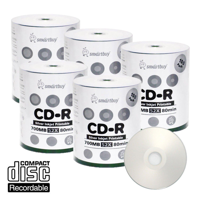 Smart Buy CD-R 500 Pack 700mb 52x Printable Silver Inkjet Blank Recordable Discs, 500 Disc, 500pk