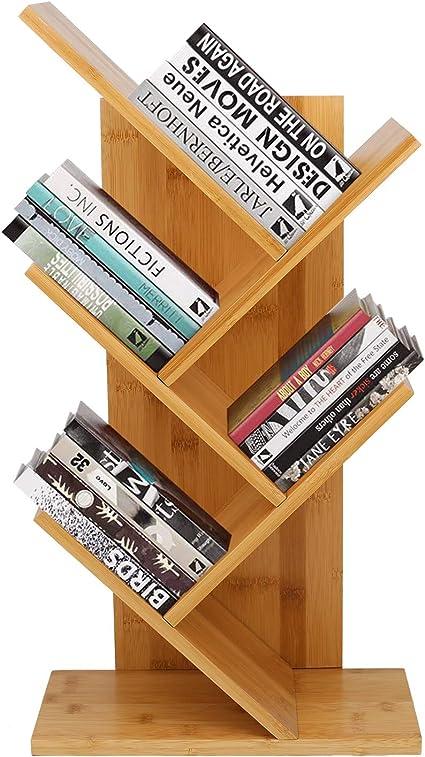 barbieya bibliotheque a poser au sol en forme d arbre en bambou 4 etages pour livres et magazines pour le bureau et la maison etagere de rangement