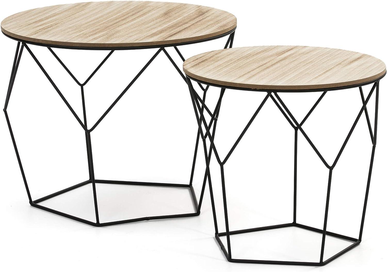 VS Venta-stock Juego 2 mesas de Centro café Tokio con Tapa de Madera Natural y Estructura de Metal en Negro