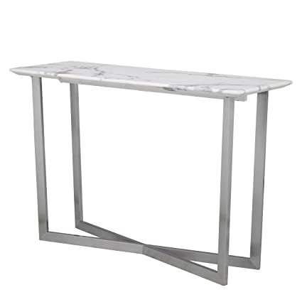 Amazon Com Furniture Hotspot Faux Marble Console Table White