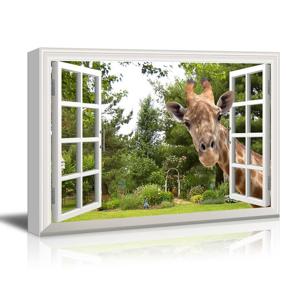 """Canvas Print Wall Art - Window Frame Style Wall Decor - A Curious Giraffe Sticking Its Head into an Open Window 