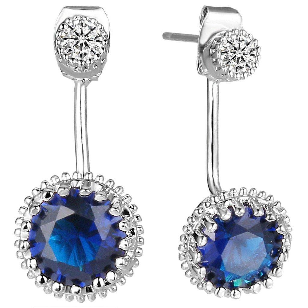 EleQueen Women's Silver-tone Full Cubic Zirconia 2 in 1 Bridal Ear Jacket Stud Earrings Sapphire Color by EleQueen