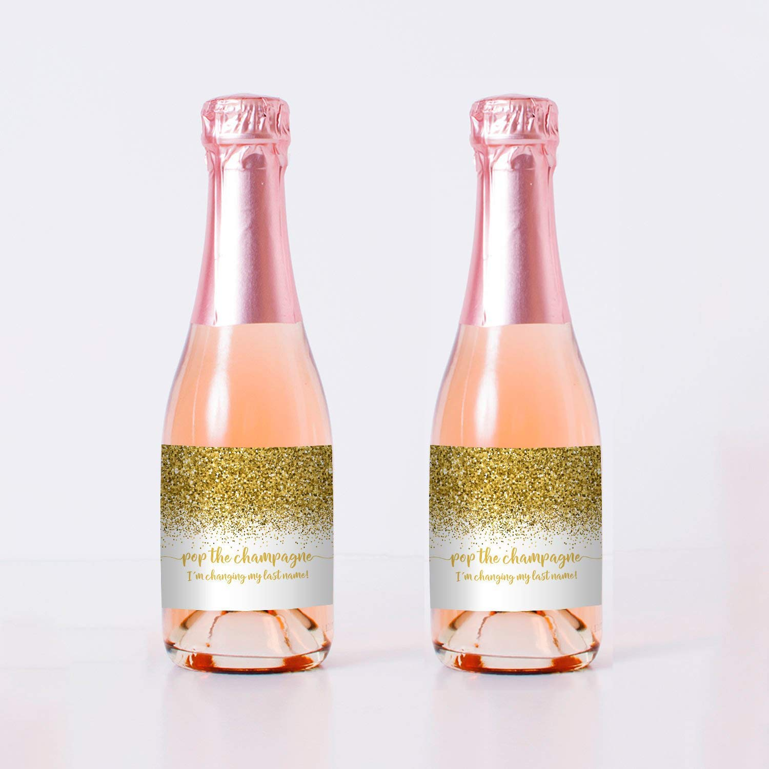 Mini Champagne Labels  Pop The Champagne I/'m Changing My Last Name  Bachelorette Party Favors Pop the Bubbly