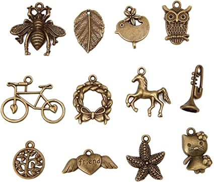 2 pieces Antiqued Brass Vintage Design Unicorn Charm with Ring Made in the USA