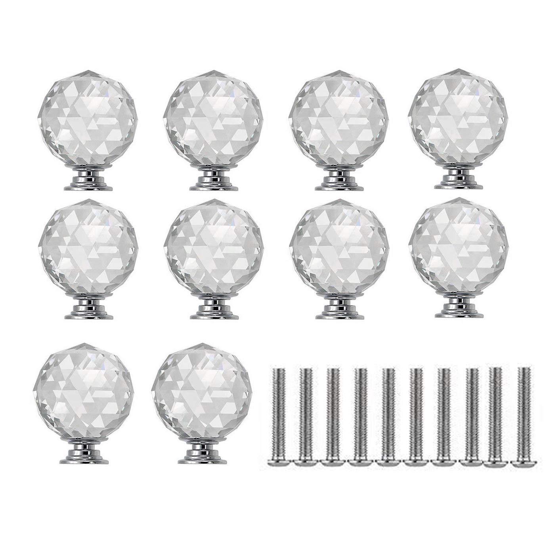 WOTOY 10 Packs Aluminum Alloy Sphere Crystal Cabinet Knobs 30mm Diamond Shape Drawer Cabinets Dresser Cupboard Wardrobe Pulls Handles