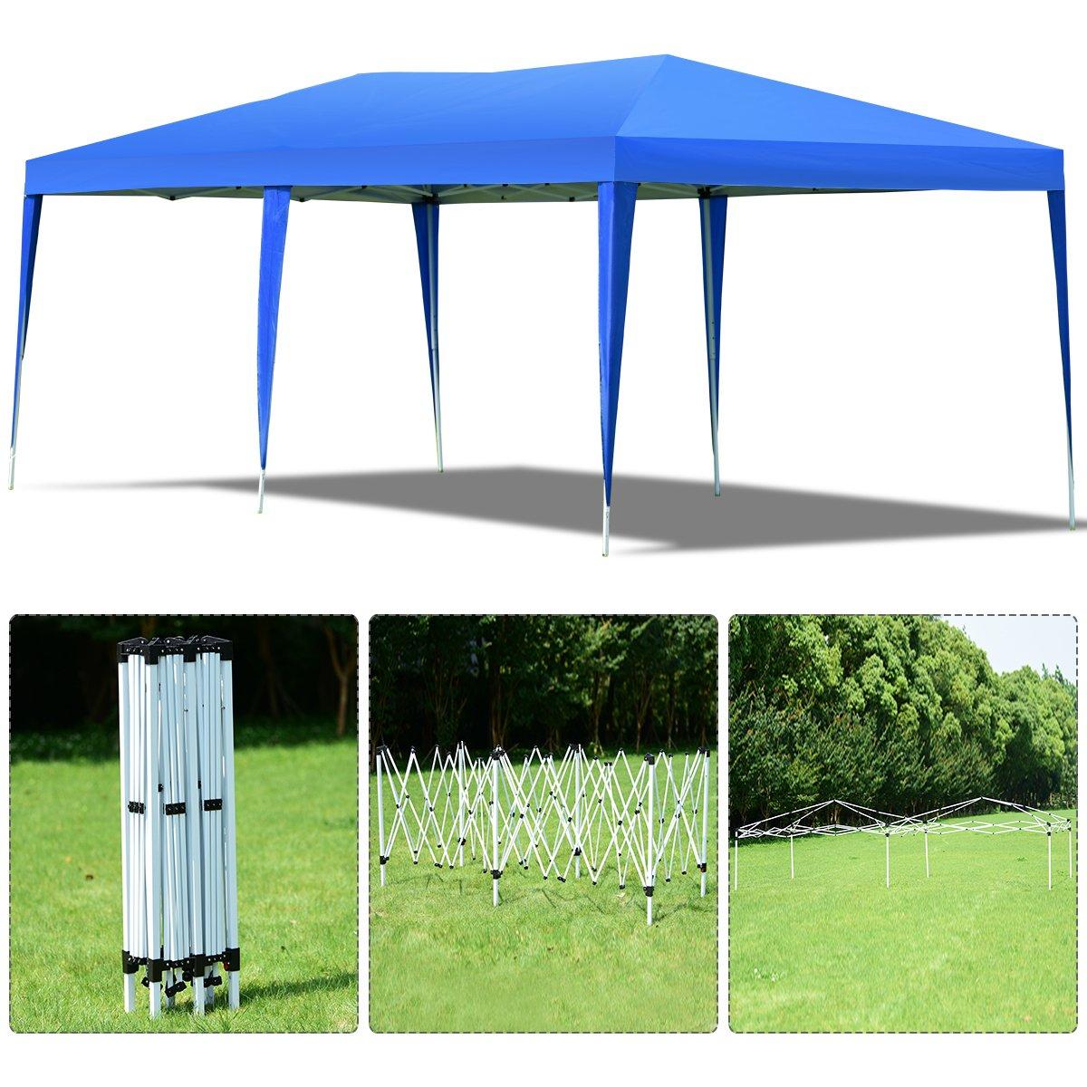 Pavillon inkl Tragetasche COSTWAY Gartenpavillon Partyzelt Faltzelt 3x6m Faltpavillon Bierzelt UV-Schutz blau Gartenzelt faltbar