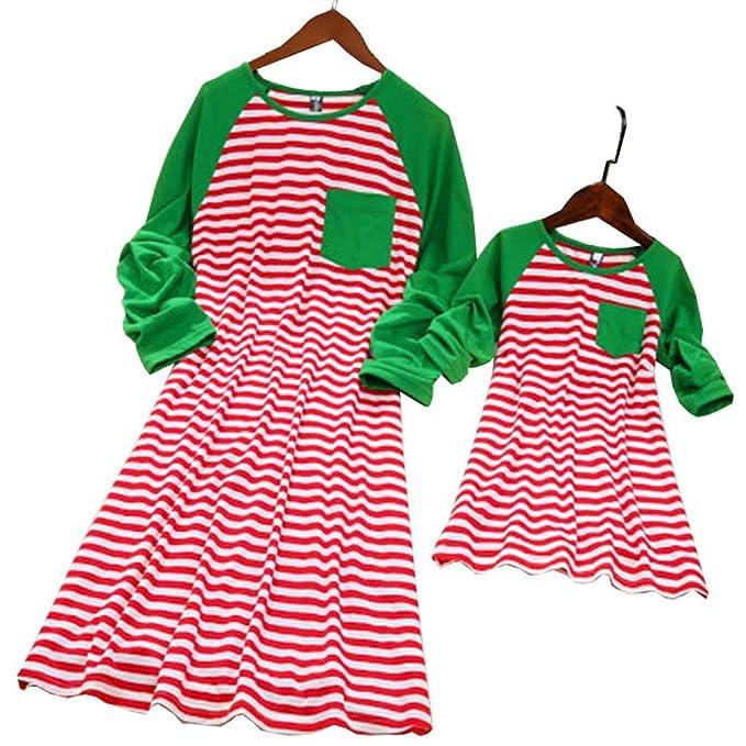 Amazon.com: Vestido de Navidad a juego con diseño de rayas ...