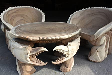 sea themed furniture. Hand-carved \u0026quot;Crab\u0026quot; Table And 2 Chairs - Restaurant/Under The Sea Themed Furniture