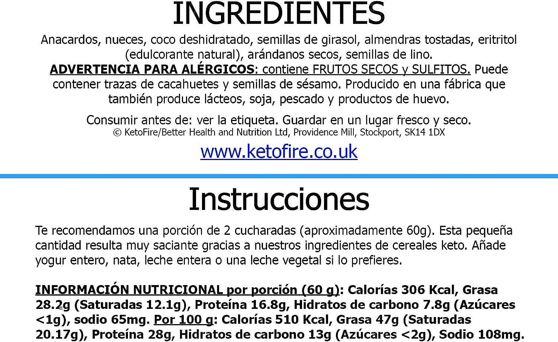 Cereal Ultimate Keto Cereal (bajo en hidratos) sin azúcar ...