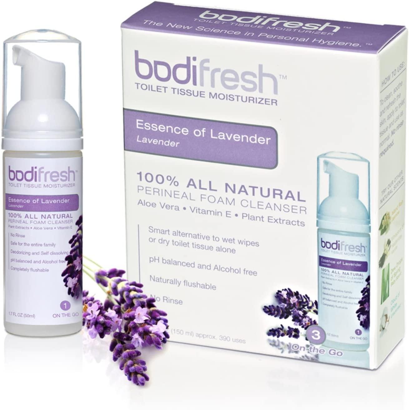 Bodifresh Cleansing Foam with Aloe and Vitamin E (Lavender) - Gently Removes What Dry Toilet Paper Leaves Behind- Flushable Wipes