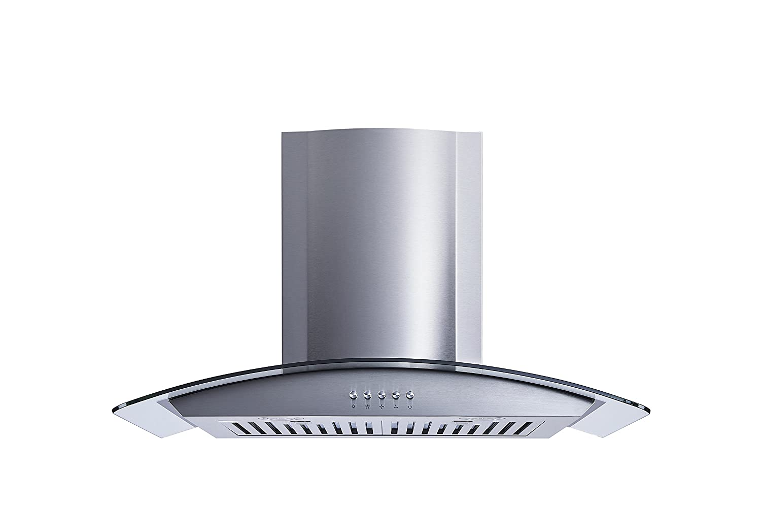 Ultra bright LED lights and Push Button 3 Speed Control Winflo New 30 Convertible Stainless Steel//Tempered Glass Wall Mount Range Hood with Stainless Steel Baffle filters