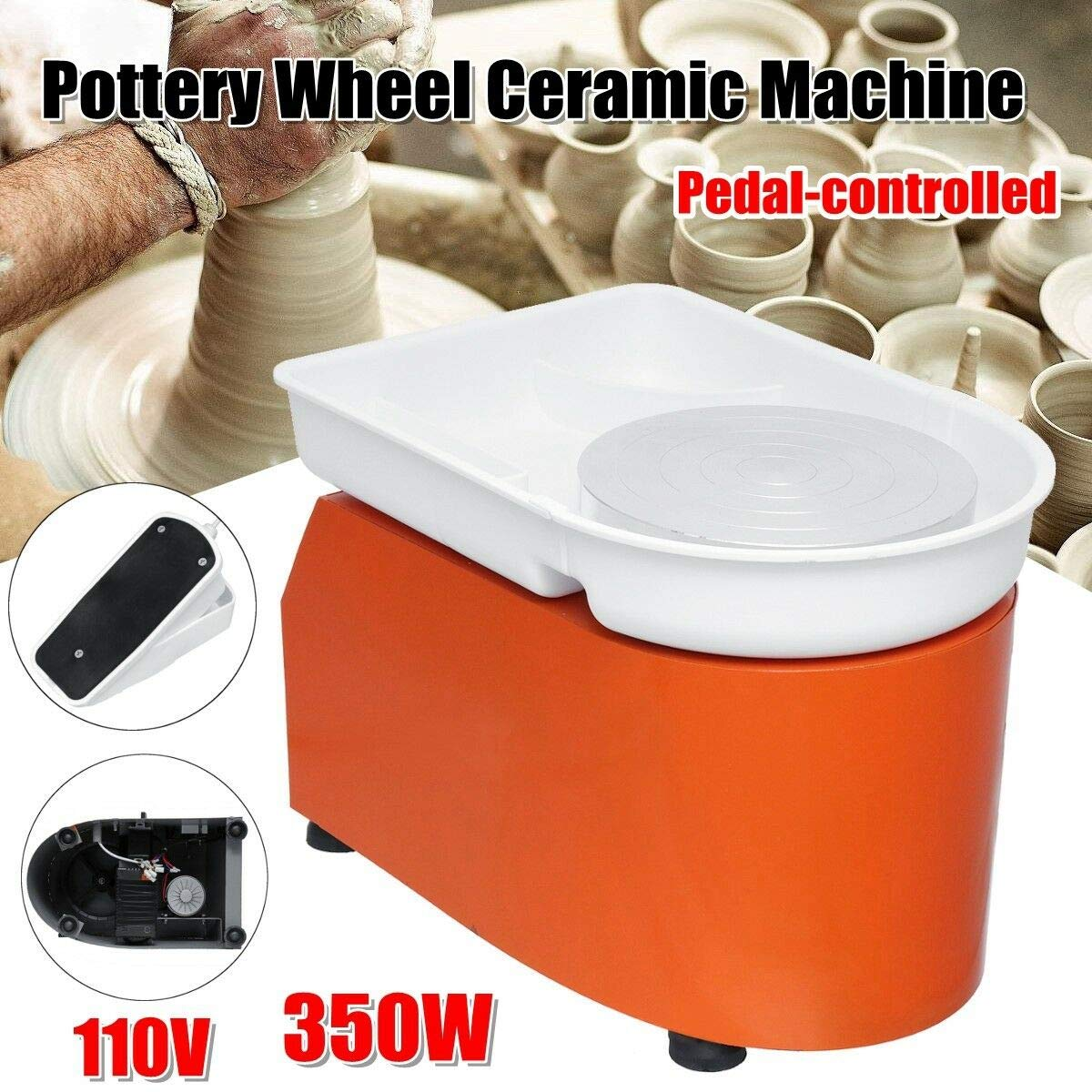 Barbella Pottery Wheel Pottery Forming Machine 250W Electric Pottery Wheel DIY Clay Tool with Tray for Ceramic Work Ceramics Clay (Orange) by Barbella (Image #4)