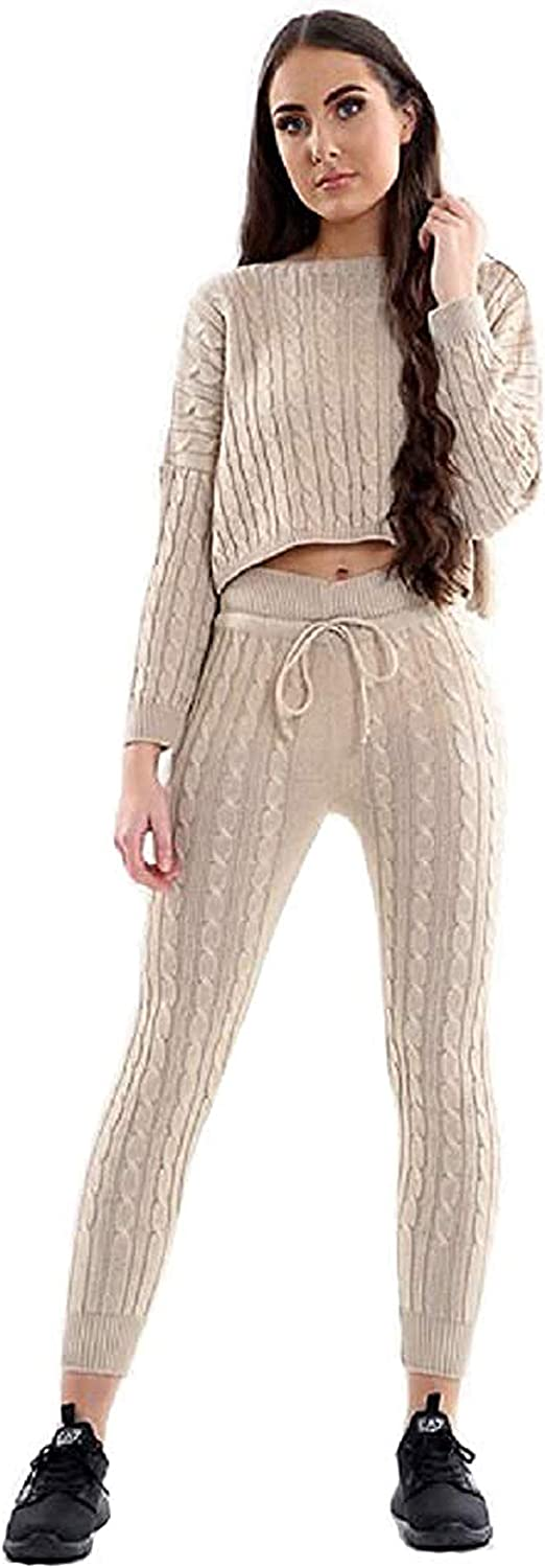 MIXLOT Womens Ladies Cable Knitted Casual Crop Top Baggy Warm 2pc Loungewear Set Suit