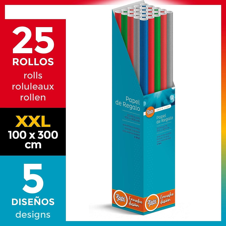 25 Rollos EXTRA GRANDES de papel de regalo LISO (5 diseños) 100 cm x 300 cm (1 x 3 m) + CAJA EXPOSITORA [FP Fiesta Paper] ESPECIAL para: Tiendas Comercios Navidad Reyes Cumpleaños Baby Shower Bodas