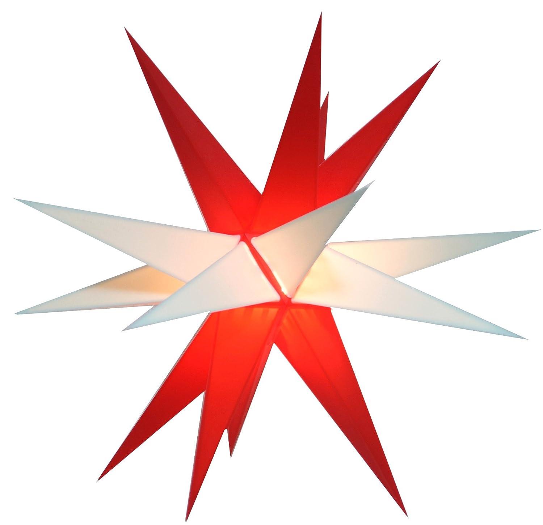 Guru-Shop Wetterfester Faltbarer 3D Außenstern Ø 55 cm Inkl. Leuchtmittel, 7 m Kabel, Popup Stern aus Stabiler Plastik für Garten & Balkon - Faltstern Weiß, Weihnachtsstern, Adventsstern