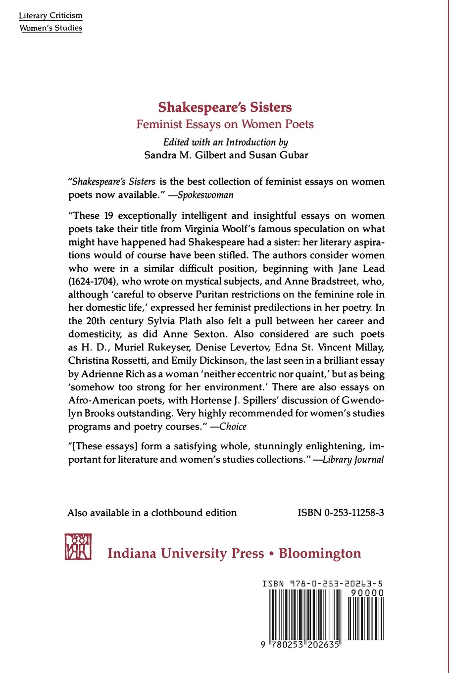 shakespeare s sisters feminist essays on women poets edited by shakespeare s sisters feminist essays on women poets edited by sandra m gilbert and susan gubar 9780253202635 com books