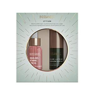 Biossance Let It Glow Set - 2-Piece Set Includes Squalane + Vitamin C Rose Oil for Face + Creamy Lactic Acid Night Serum for Brighter Skin Overnight - Exfoliate, Lock in Hydration + Visibly Firm Skin